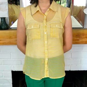 Love Notes yellow and white striped top size M